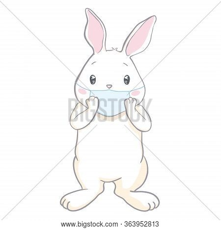 Easter Bunny With Protective Mask Vector. Funny Easter Bunny With Coronavirus Mask Icon. Easter Bunn
