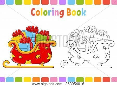 Coloring Book For Kids. Christmas Sleigh. Cartoon Character. Vector Illustration. Fantasy Page For C
