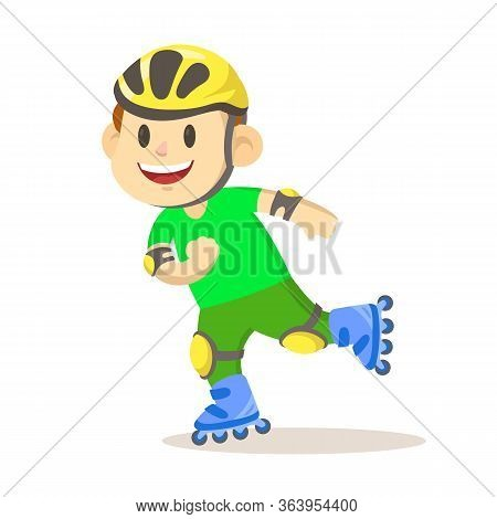 Funny Smiling Boy Rides On Roller Skates. The Child In The Helmet And The Protection On Rollers. Fla