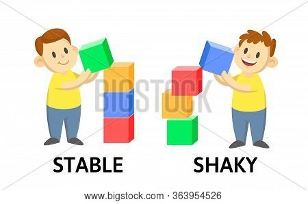 Words Stable And Shaky Textcard With Text Cartoon Characters. Opposite Adjectives Explanation Card.