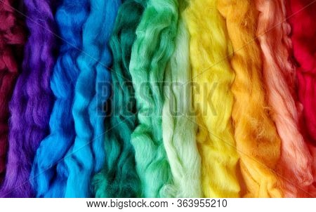 Wool For Felting Different Colors Of The Rainbow. Striped Woolen Background. Textural Abstract Color