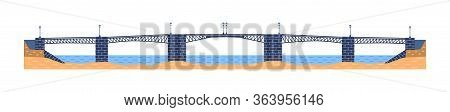 Five-span Metal Bridge Vector. City Architecture Element And Bridge-construction Across The River Wi