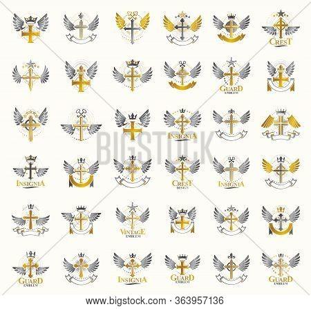 Vintage Christian Crosses Vector Logos Or Emblems, Heraldic Design Elements Big Set, Classic Style H