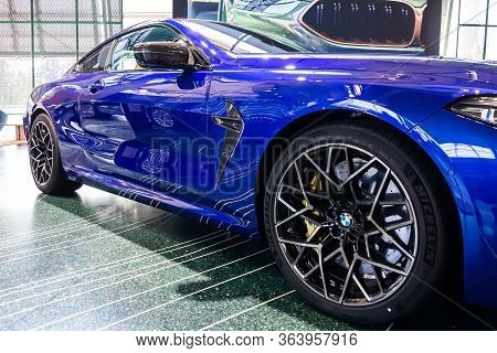Bmw M8 Wheels With Michelin Tire And Yellow Brake Support. Bmw Welt, Munich, Germany, March 2020