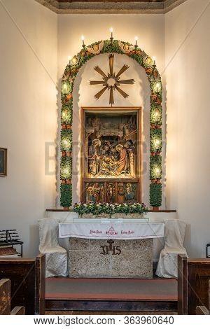 Feb 3, 2020 - Oberndorf, Austria:altar Inside Chapel Stille-nacht-kapelle With Lighs On