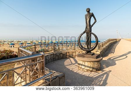 Bronze Sculpture On The Pier Of The Marina Di Pietrasanta Beach In Versilia, Tuscany, Italy