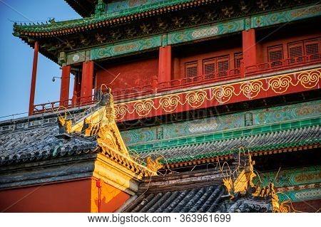 Drum Tower In Beijing, China, Built By Yuan Dynasty In 1272, Landmark Of Beijing