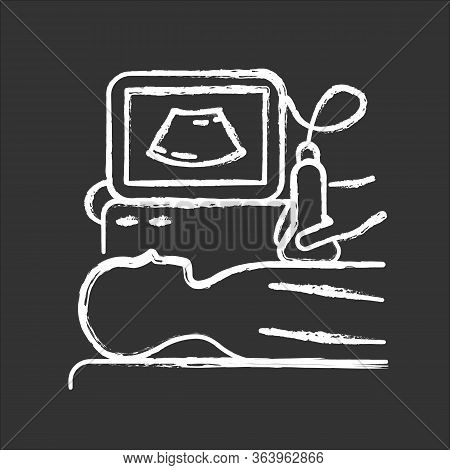 Ultrasound Diagnostics Chalk Icon. Ultrasonography. Medical Procedure. Healthcare. Chest Examination
