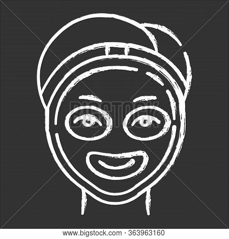 Cosmetology Chalk Icon. Spa Facial Treatment. Medical Procedure. Face Female Mask For Rejuvenation.