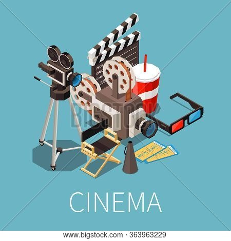 Cinema Isometric Composition With Text And Images Of Cinematographic Elements With Directors Seat Ti