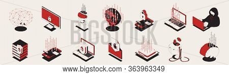 Set Of Isolated Cyber Attack Security Isometric Icons With Pictograms And Symbols Of Computer Safety
