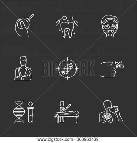 Medical Procedure Chalk Icons Set. Lavement. Healthcare. Orthopedic Cast. Immunotherapy. Dental Care