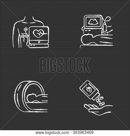 Medical Procedure Chalk Icons Set. Electrocardiogram. Ultrasound Diagnostics. Tomography. Brain Scan