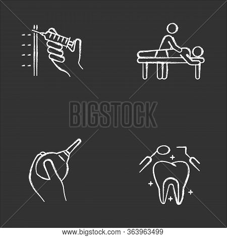 Medical Procedure Chalk Icons Set. Injection With Syringe. Massage. Lavement. Dental Care. Oral Heal