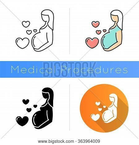 Pregnancy Care Icon. Prenatal Period. Motherhood, Parenthood. Expecting Baby, Child. Gynecology Chec