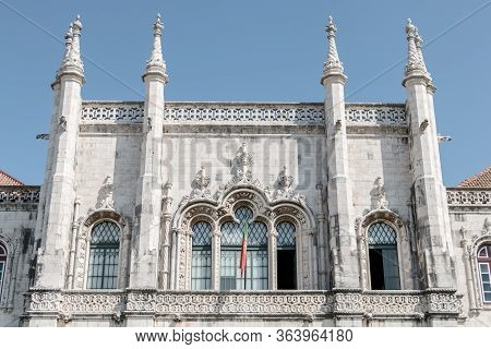 Architectural Details Of The Jeronimos Monastery (mosteiro Dos Jeronimos) In Lisbon, Portugal