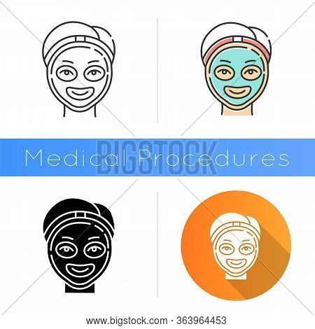 Cosmetology Icon. Spa Facial Treatment. Medical Procedure. Face Female Mask For Rejuvenation. Skinca