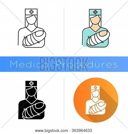 Pediatrics Icon. Nurse With Baby. Doctor Carrying Infant. Childcare. Premature Newborn Help. Physici