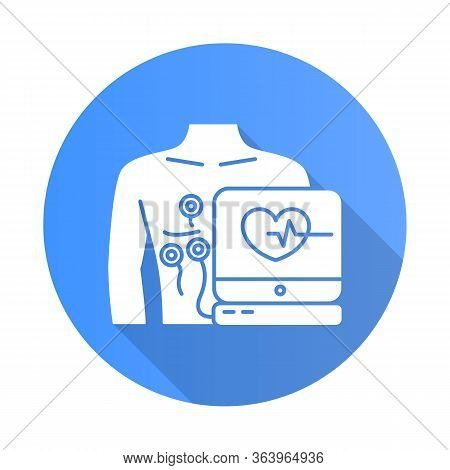 Electrocardiogram Blue Flat Design Long Shadow Glyph Icon. Heart Examination. Pulse Rate On Screen.