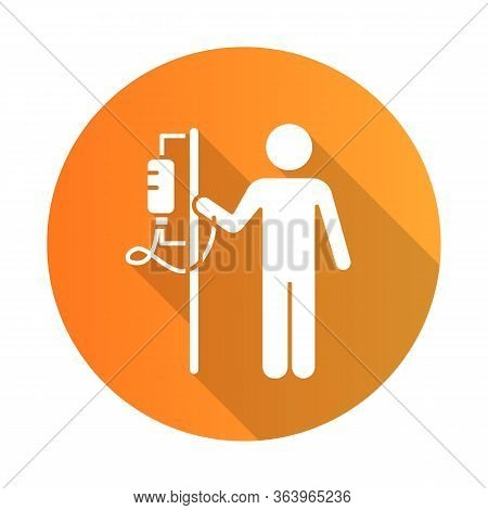 Dropper Orange Flat Design Long Shadow Glyph Icon. Medical Procedure. Healthcare Services. Patient W