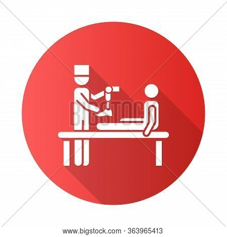 Prosthetics Red Flat Design Long Shadow Glyph Icon. Medical Procedure. Doctor, Patient. Amputee. Mec