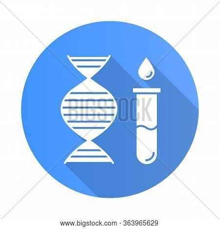 Genetic Testing Blue Flat Design Long Shadow Glyph Icon. Dna Examination. Blood In Vial. Medical Pro