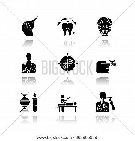 Medical Procedure Drop Shadow Black Glyph Icons Set. Healthcare. Orthopedic Cast. Immunotherapy. Den