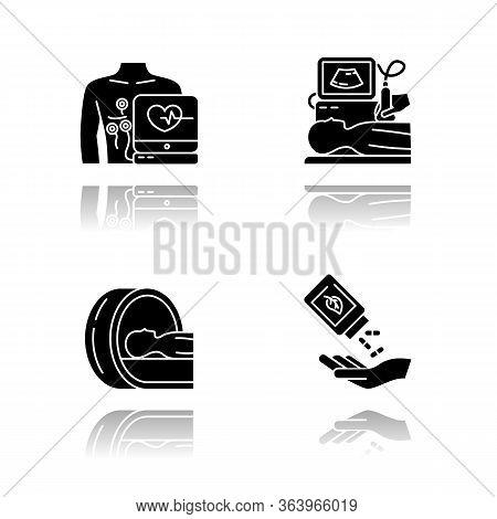 Medical Procedure Drop Shadow Black Glyph Icons Set. Electrocardiogram. Ultrasound Diagnostics. Tomo