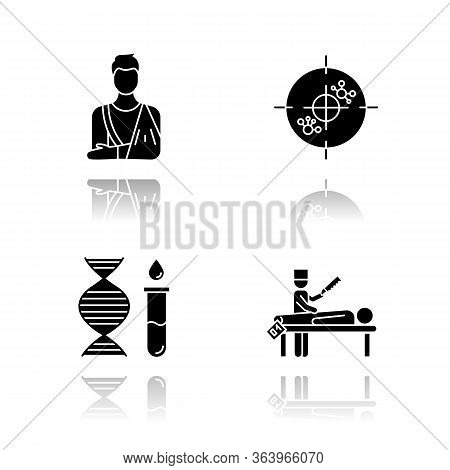 Medical Procedure Drop Shadow Black Glyph Icons Set. Orthopedic Cast. Fractured Bone. Immunotherapy.