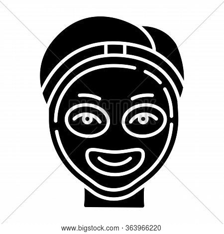Cosmetology Glyph Icon. Spa Facial Treatment. Medical Procedure. Face Mask For Rejuvenation. Skincar