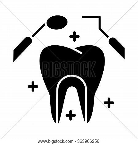 Dental Care Glyph Icon. Medical Procedures. Dentistry. Odontology. Tooth Examination. Caries Prevent