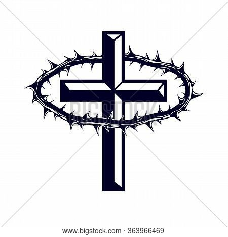 Martyr Vector Concept Logo Or Sign, Christian Religion And Faith Saint Person, Martyrdom Blackthorn