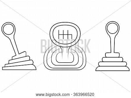 Car Gearbox Icon Set. Mechanic Car Gearbox In Outline Style For Web Design, Isolated On White Backgr