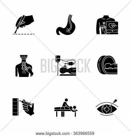 Medical Procedure Glyph Icons Set. Surgery. Endoscopy. Electrocardiogram. Physiotherapy. Anesthesia.