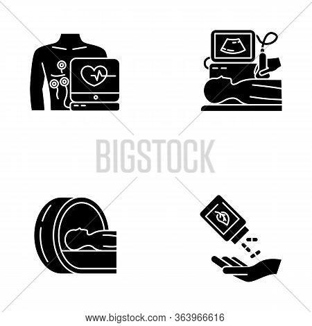 Medical Procedure Glyph Icons Set. Electrocardiogram. Ultrasound Diagnostics. Tomography. Brain Scan