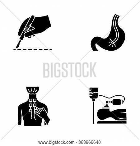 Medical Procedure Glyph Icons Set. Surgery. Endoscopy And Gastroscopy. Digestive Tract, Stomach Chec