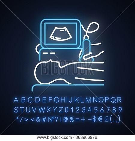 Ultrasound Diagnostics Neon Light Icon. Ultrasonography. Medical Procedure. Patient Chest Examinatio