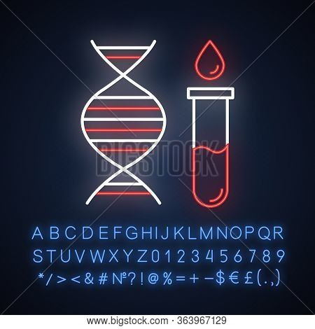 Genetic Testing Neon Light Icon. Dna Examination. Blood In Vial. Medical Procedure. Biochemistry. Ch
