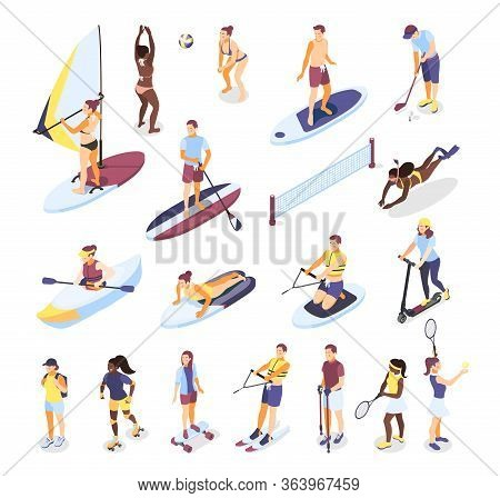 Summer Sports And Outdoor Activities Isometric Icons Set Of People Riding On Surfboard  Sup Board Ka