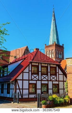 Old Building And Church In Bergen Auf Ruegen, Germany