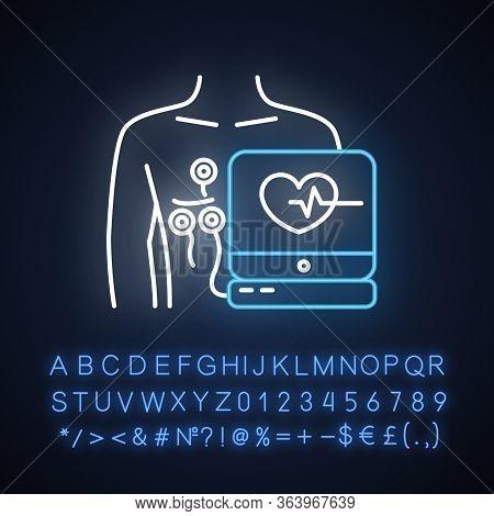 Electrocardiogram Neon Light Icon. Heart Disease Examination. Pulse On Screen. Cardiology, Cardiogra
