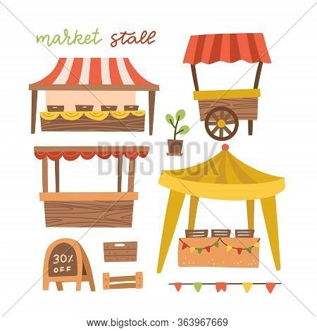 Set Of Awing With Wooden Market Stand Stall And Various Kiosk, With Red And White Striped Awning Iso