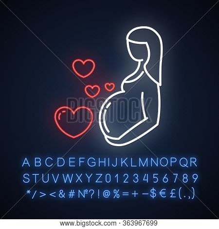 Pregnancy Care Neon Light Icon. Prenatal Period. Motherhood, Parenthood. Expecting Baby, Child. Medi
