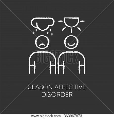 Seasonal Affective Disorder Chalk Icon. Mood Swing. Emotional Change. Manic And Depressive Episodes.
