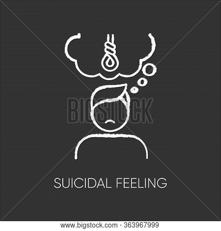 Suicidal Feeling Chalk Icon. Depressive Thoughts. Vulnerable Person. Pain And Worry. Anxiety. Hang A