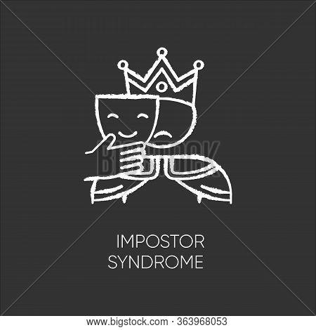 Impostor Syndrome Chalk Icon. Sad Man With Smile Mask. Fraud, Doubt. Impostorism Experience. Hypocri