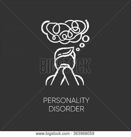Personality Disorder Chalk Icon. Maladaptive Behaviour. Deviation. Mental Health Issue. Anxiety And