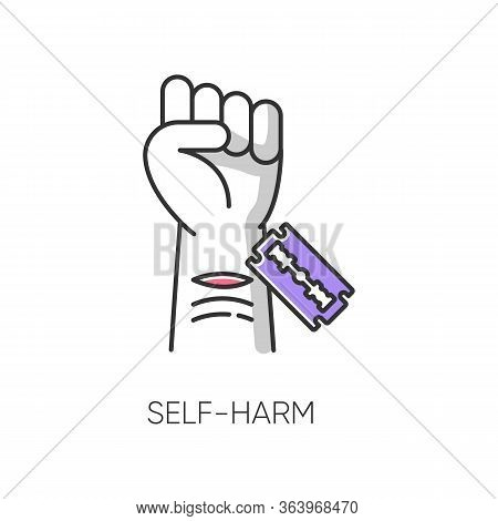Self-harm Color Icon. Cut Hand With Razor Blade. Open Wound. Mental Disorder. Psychological Issue. N