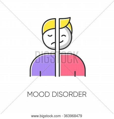 Mood Disorder Color Icon. Manic And Depressive Episodes. Dysthymia, Cyclothymia. Emotional Swing. Ha
