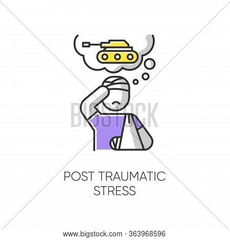 Post-traumatic Stress Color Icon. Veteran With Anxiety. Depressed Soldier. Loneliness And Sorrow. Di
